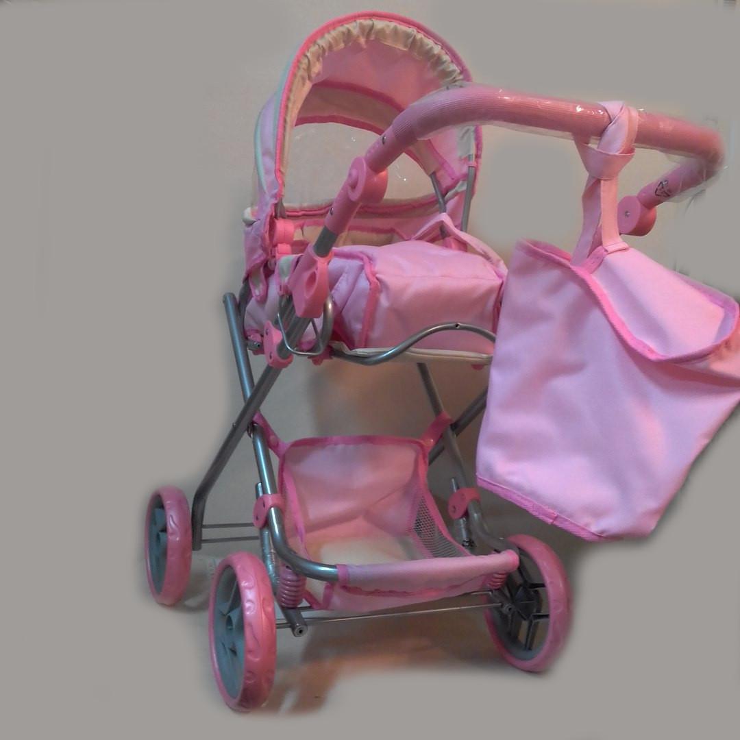 Коляска-трансформер для кукол с сумкой, светло-розовая