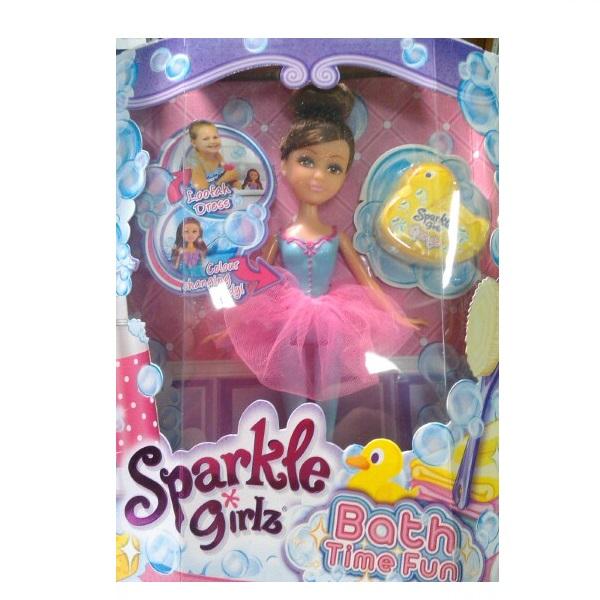 Игровой набор Sparkle Girlz: Bath Time Fun - Шатенка в розово-голубом