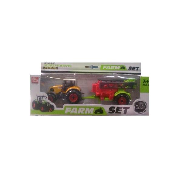 Игрушечный трактор с прицепом Farm, красно-желтый, 9.5 см