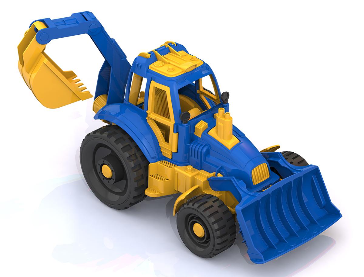 Трактор с ковшом и грейдером