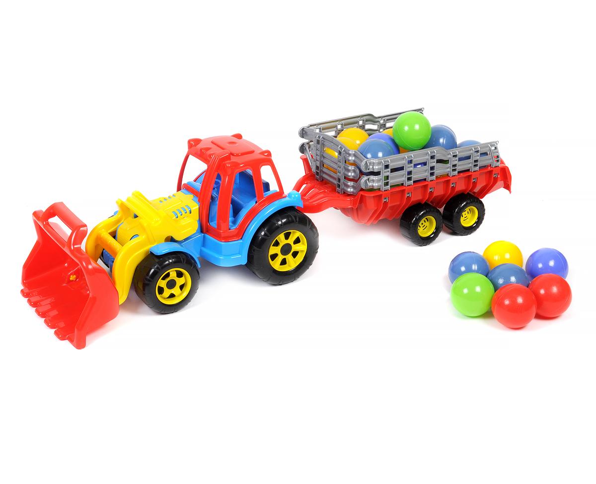 Большой трактор с прицепом и ковшом, с мячиками