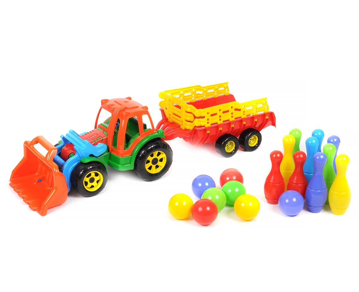 Большой трактор с прицепом и ковшом, с мини-кеглями