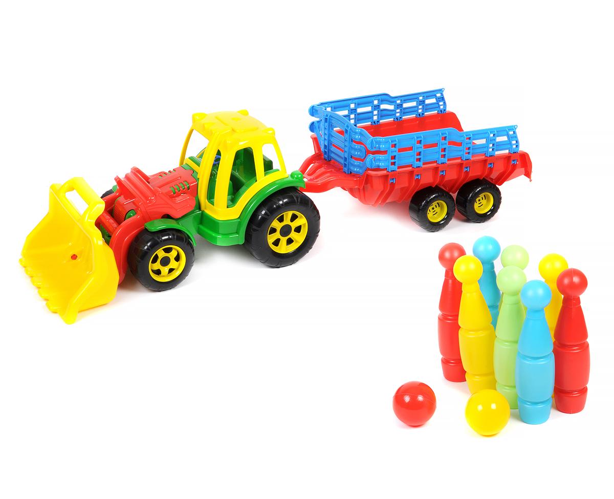 Большой трактор с прицепом и ковшом, с большими кеглями