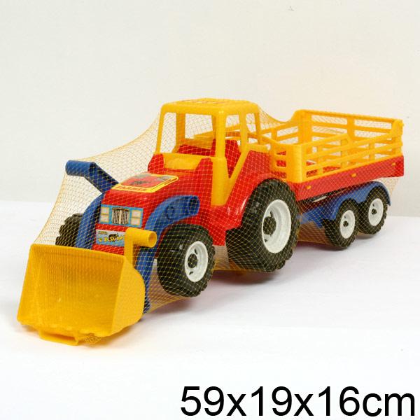 """Трактор """"Фермер"""" с ковшом и прицепом для сена №084"""