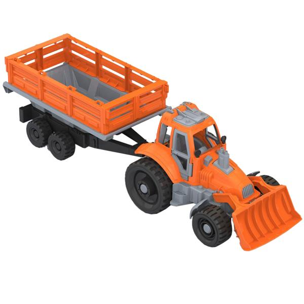 Игрушечный трактор с грейдером и прицепом