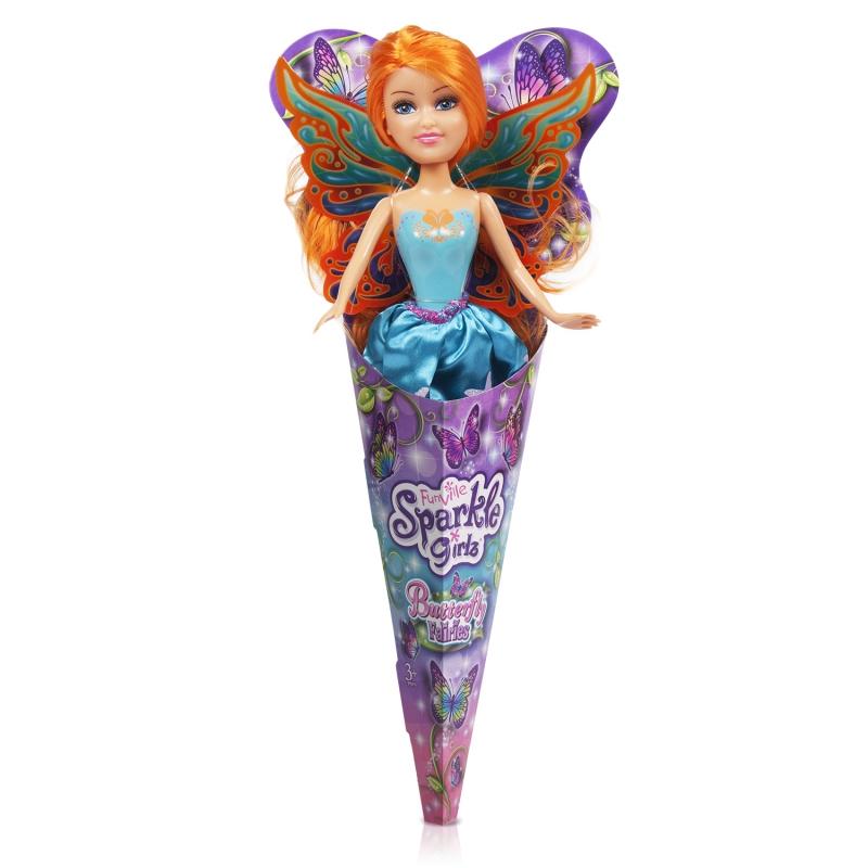 """Sparkle Girlz Кукла """"Фея бабочка"""" (26,5 см, подвижн., в ассорт., шоубокс, в рожке)"""