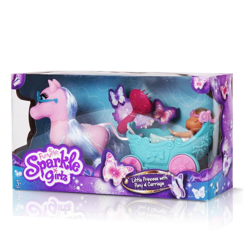 """Sparkle Girlz Игровой набор """"Принцесса в карете"""" (кукла 11,5 см, лошадь, карета, аксесс., в ассорт.)"""