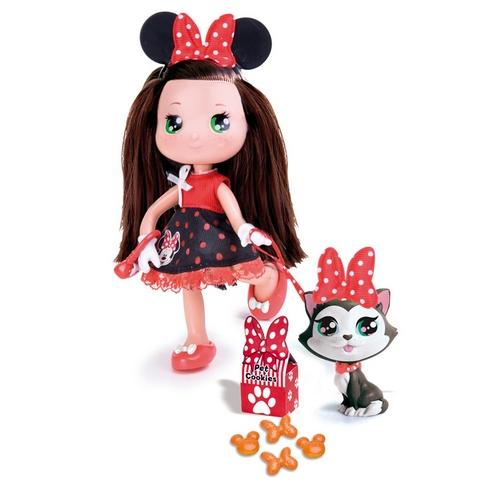 Кукла Минни брюнетка с кошкой