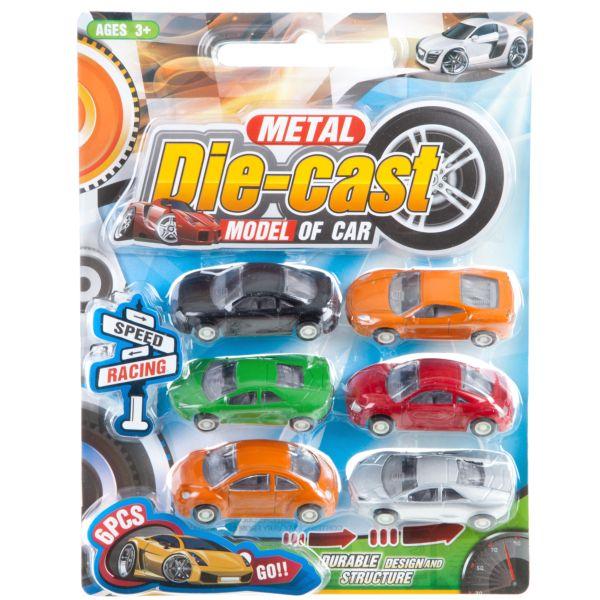 Набор игрушечных металлических машинок, 6 шт.