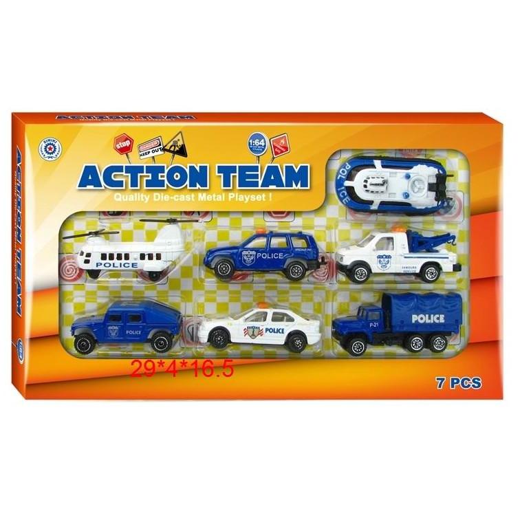Набор металлического инерционного транспорта Action Team, 7 шт., 1:64