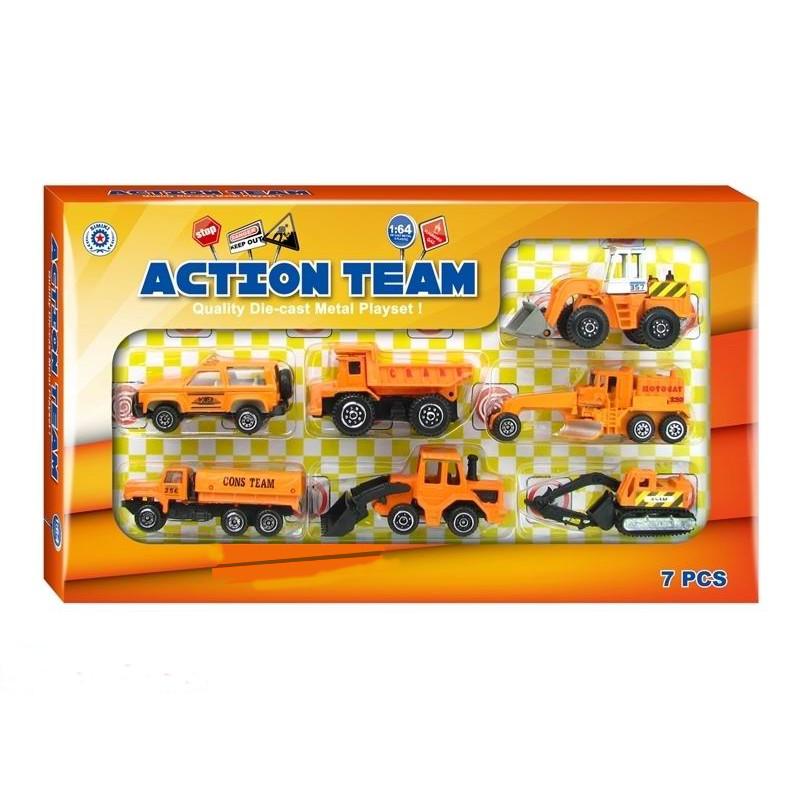 Набор из 7 инерционных машинок Action Team, 1:64