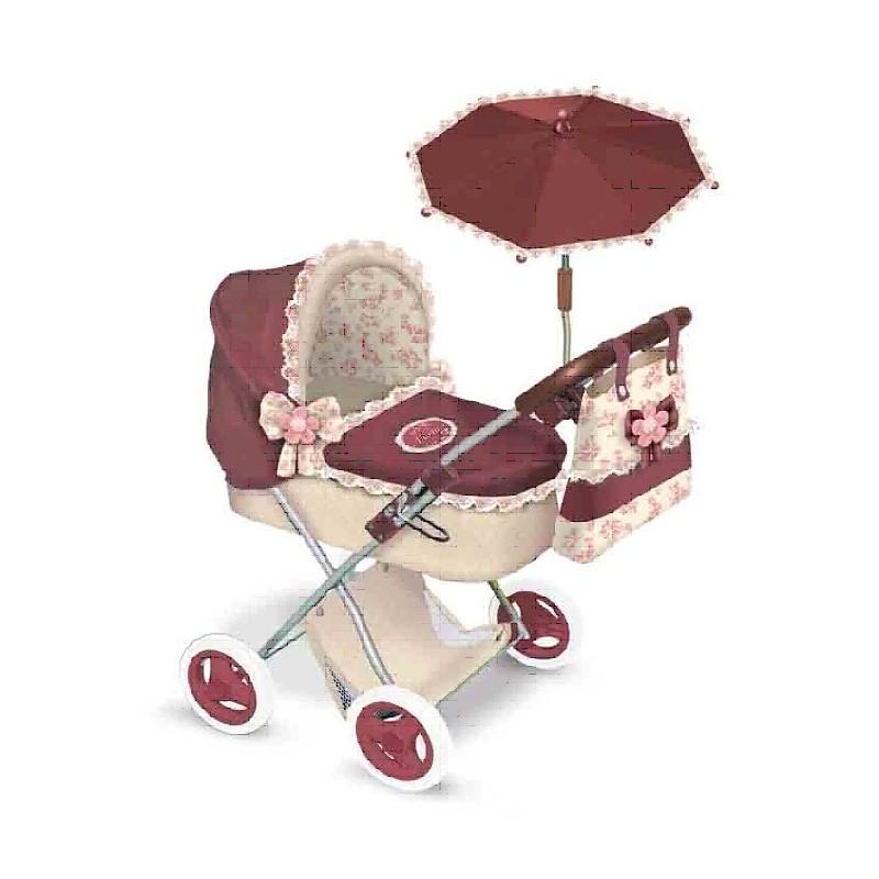 """Коляска для кукол """"Мартина"""" с сумкой и зонтиком, гранатово-бежевая, 65 см"""