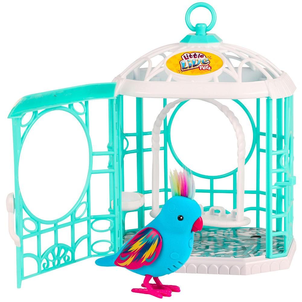 Интерактивная птичка в клетке Little Live Pets (движение, звук), синяя
