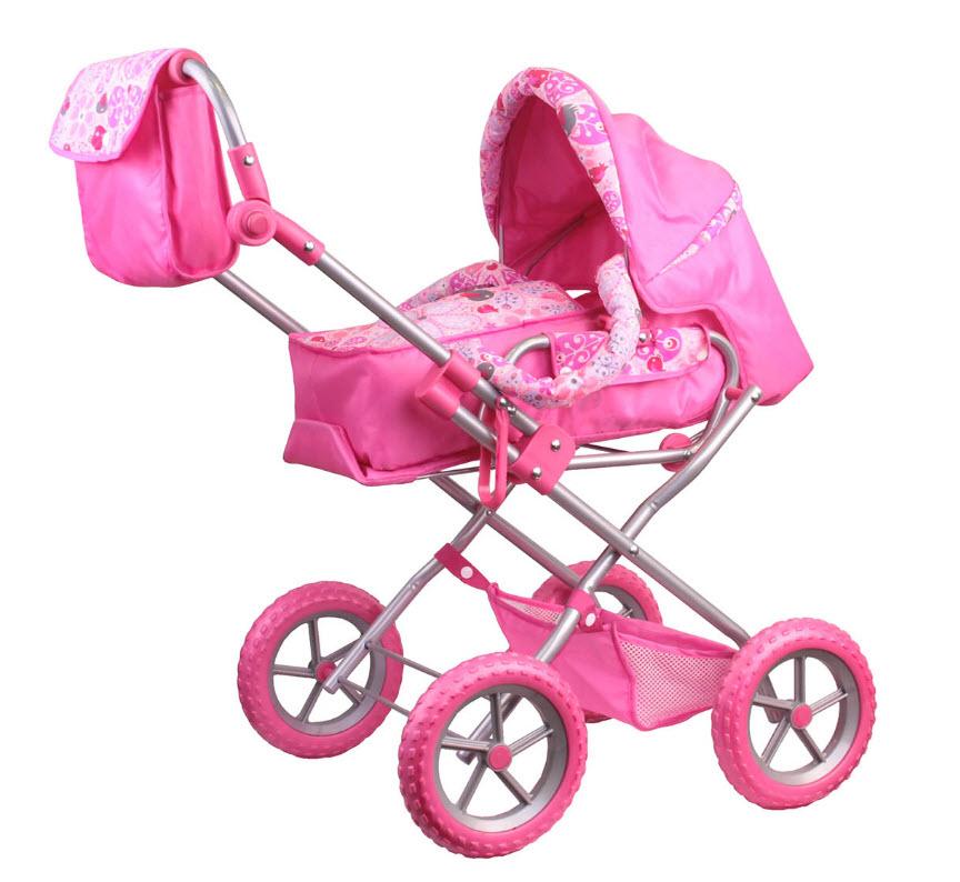 Зимняя коляска для кукол с сумкой, розовая