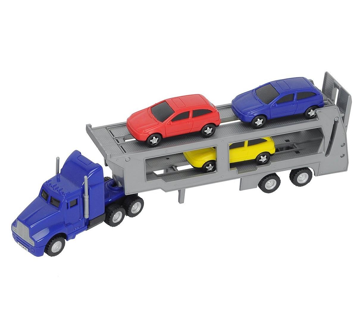 Игрушечный трейлер с 3 машинками, синий