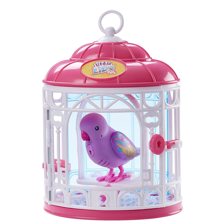 Интерактивная птичка Little Live Pets в клетке (звук), розовая