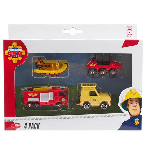 """Набор из 4 машинок """"Пожарный Сэм"""", 1:64, модель 2"""
