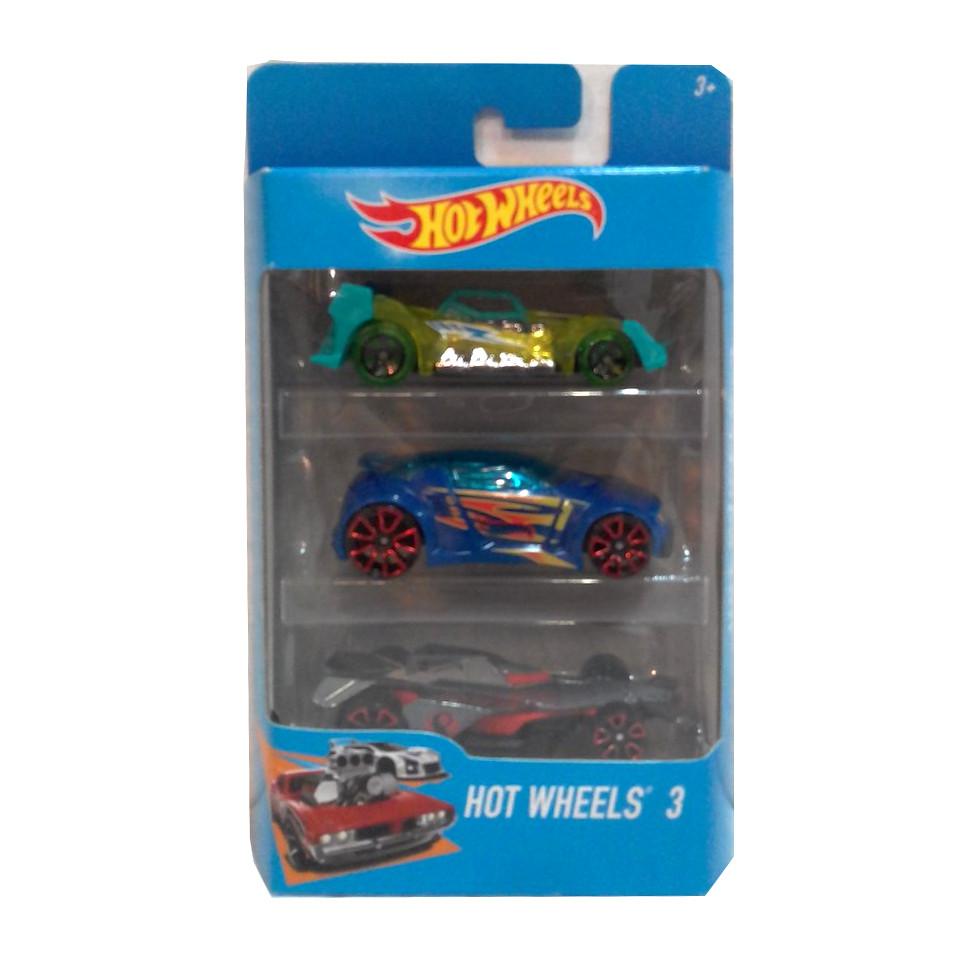 """Подарочный набор машинок """"Хот Вилс"""" - Бирюзовая, синяя, серая"""