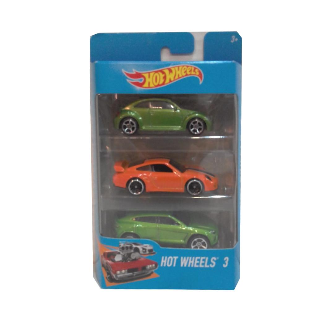 """Подарочный набор из 3 машинок """"Хот Вилс"""" - Оранжевая и 2 зеленые"""