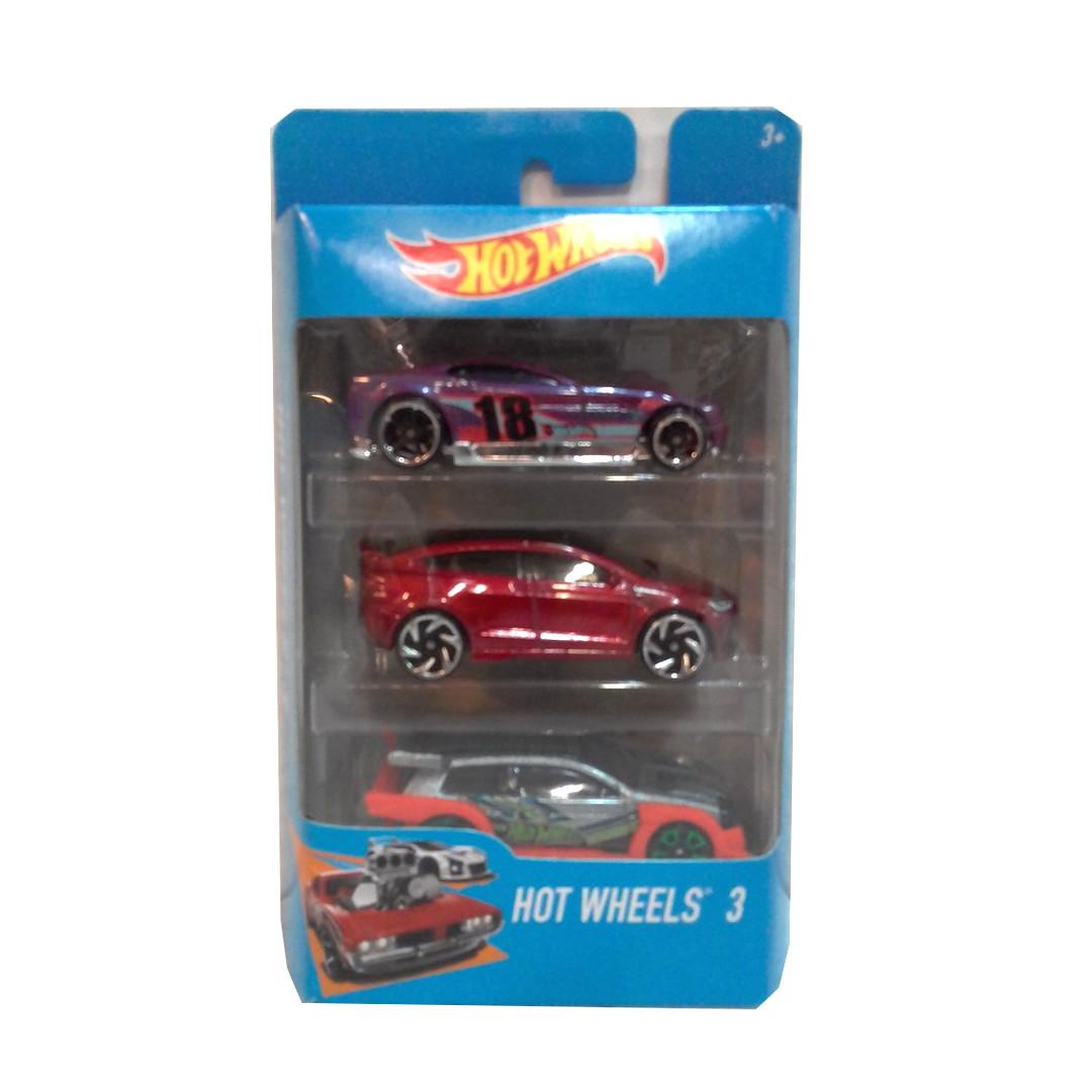 """Подарочный набор из 3 машинок """"Хот Вилс"""" - Фиолетовая, красная, серая"""