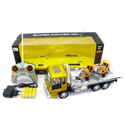 Автовоз р/у Super Power со спецтехникой - Желтая кабина (на аккум., свет)