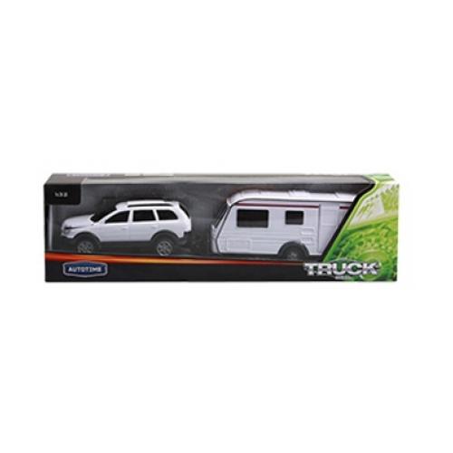 Набор All Road Camping - Машина с прицепом, белая, 1:32