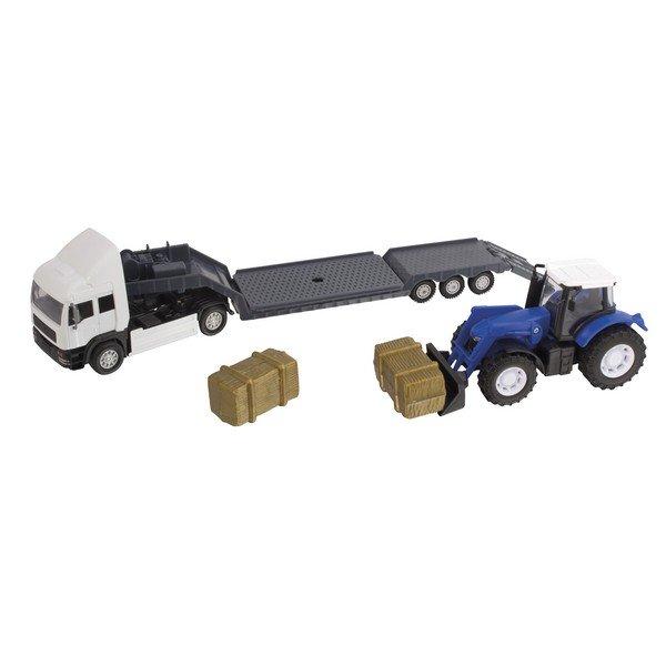 Фермерский грузовой автомобиль Teamsterz с трактором, синий с белым