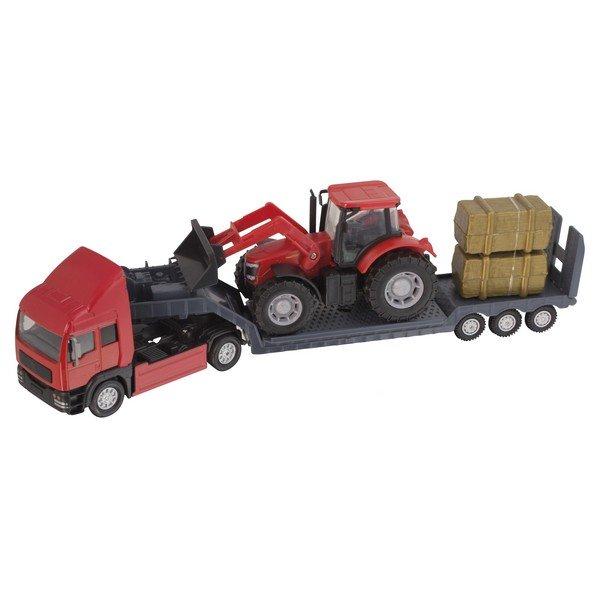 Фермерский грузовой автомобиль Teamsterz с трактором, красный