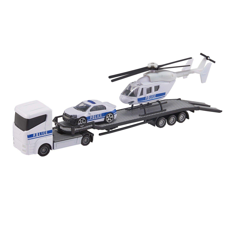 Перевозчик Teamsterz с машиной и вертолетом, белый