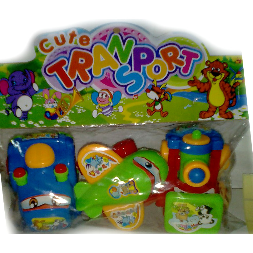 Набор из 3 инерционных игрушек Cute Transport, с зеленым самолетиком