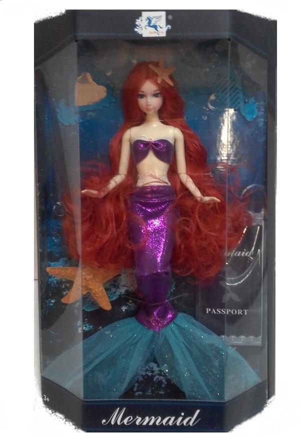 Кукла-русалка Mermaid в фиолетовом наряде, 33 см
