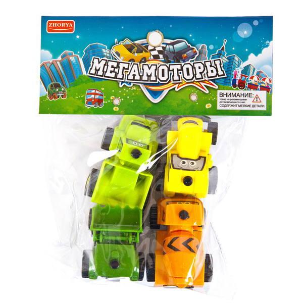 """Машинки """"Мегамоторы"""", набор 4 штуки, инерционные, в ассортименте, пластмасса, в упаковке с хеддером, 14х18х3,5 см."""
