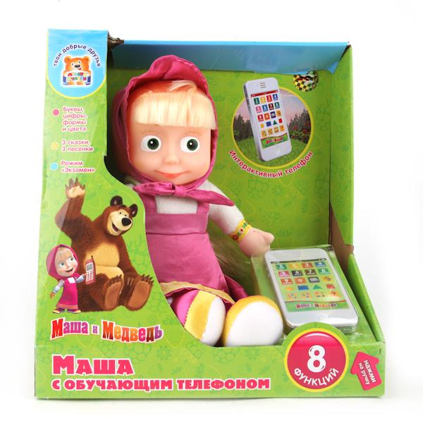 """Мягкая игрушка """"Маша с обучающим телефоном"""" (8 функций)"""
