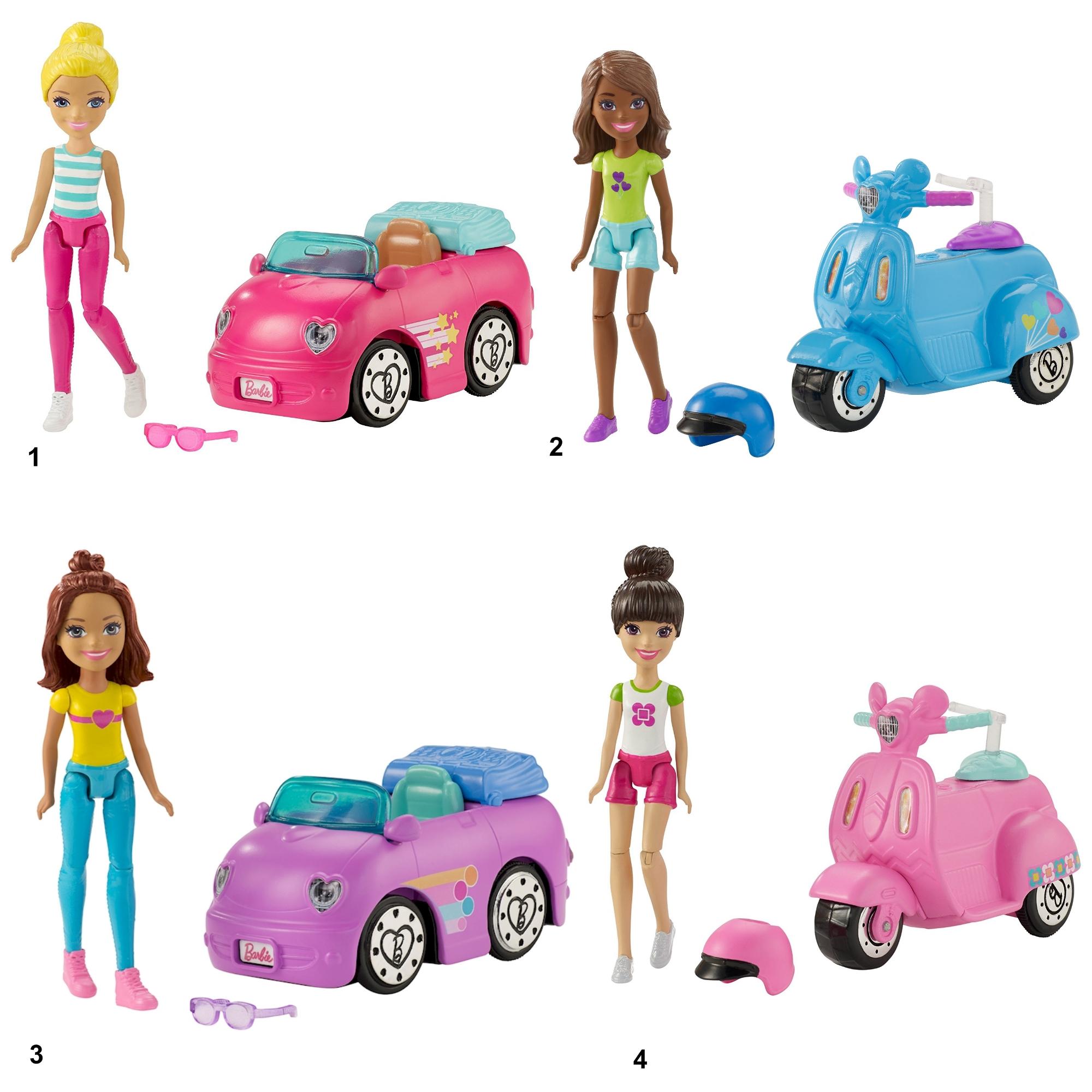 """Игровой набор Барби """"В движении"""" - Мини-кукла и машина / скутер"""
