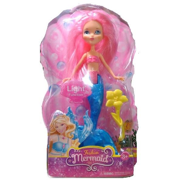 Кукла Fashion Mermaid с розовыми волосами и желтым цветком (свет)