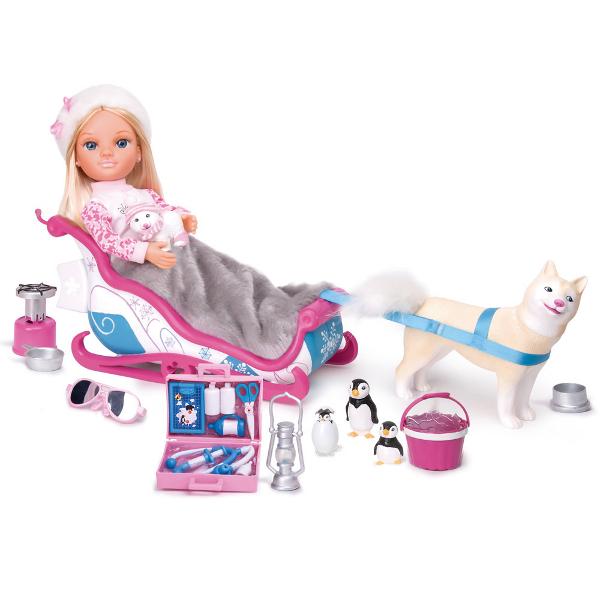 Кукла Нэнси в наборе с зимними животными и санями