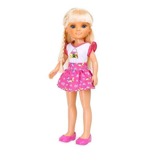 """Кукла Нэнси """"Плетение косичек"""", в малиновом"""