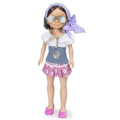 Кукла Нэнси на отдыхе в фиолетовом платке - Брюнетка, 43 см