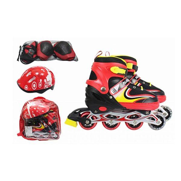 Раздвижные ролики с защитой и шлемом (свет), желто-красные, р. 30-33