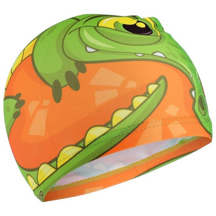Шапочка для плавания «Крокодильчик», детская, текстиль