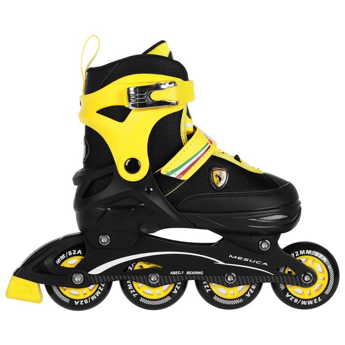 Роликовые коньки FERRARI р. 34-37, колеса PU, ABEC 7, цвет желтый