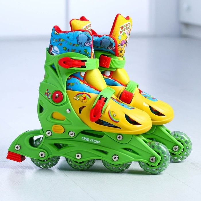 """Роликовые коньки """"Медвежонок Винни"""",раздвижные,колеса PVC 64х24 мм,пластиковая рама,р.33-36"""