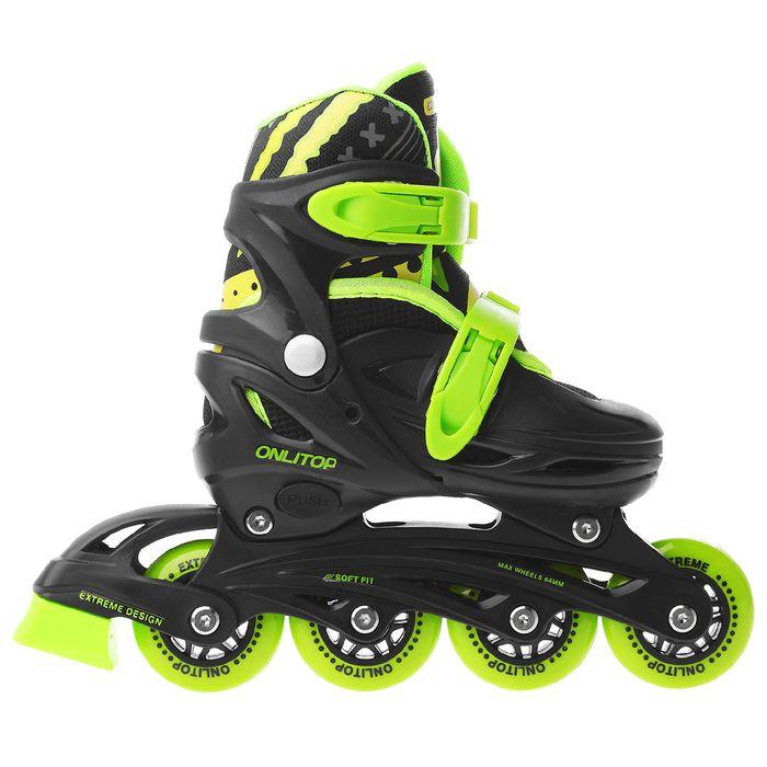 Роликовые коньки раздвижные, колеса PVC 64 мм, пластиковая рама, black/green р.30-33