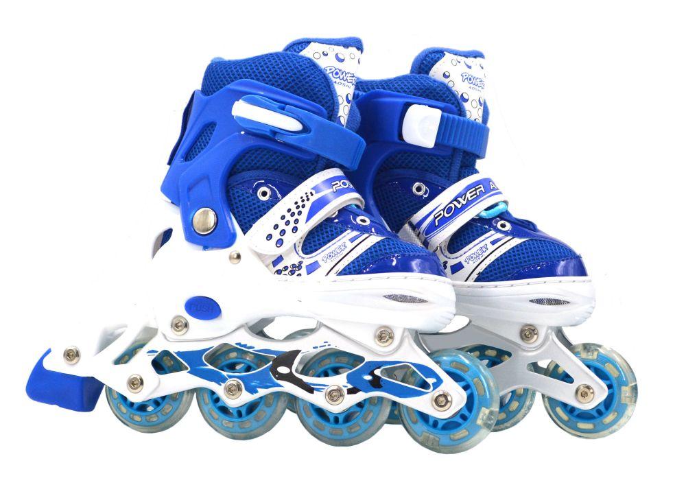 Роликовые коньки (светятся колеса), синие, 35-38 р.