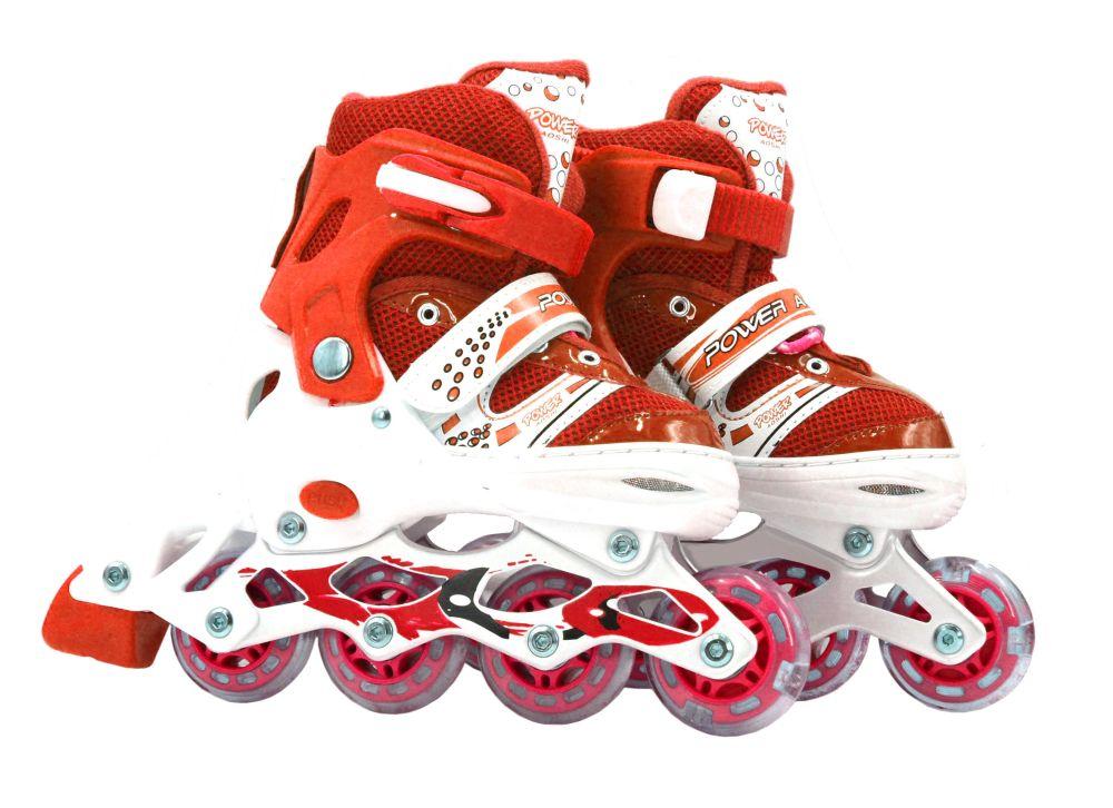 Роликовые коньки (светятся колеса), красные, 35-38 р.