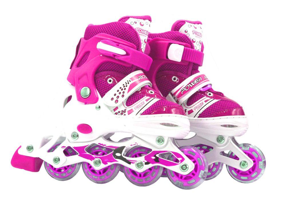 Роликовые коньки (светятся колеса), розовые, 35-38 р.