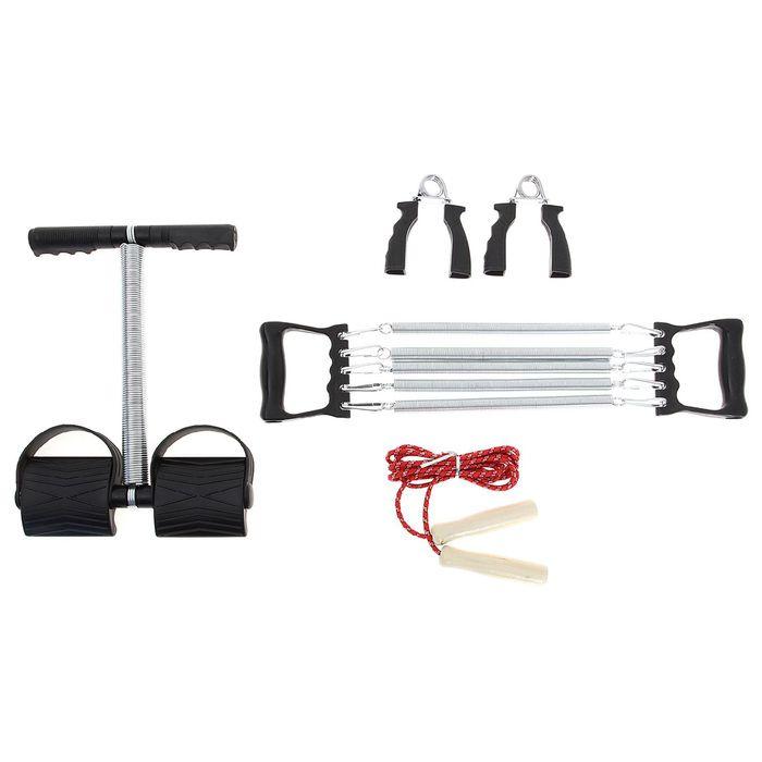 Набор фитнес 4 в1 (эспандер кистев, для пресса, груди, скакалка) цветаSL3005 в пакете