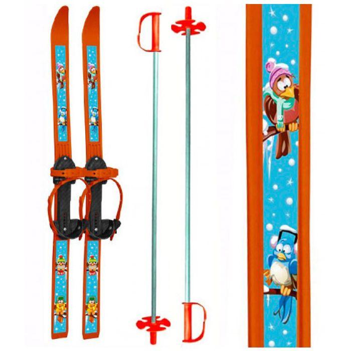 """Детские лыжи """"Вираж-спорт"""" с палками. оранжевые"""