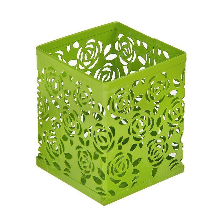 Стакан для пишущих принадлежностей, квадратный, узор, металлический, зелёный