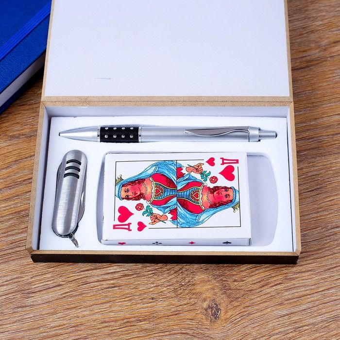 Набор подарочный 3в1 (ручка, карты, нож 3в1)